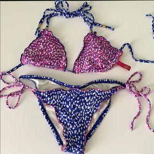 Sofia Hot Pink and Blue Bikini Swimsuit